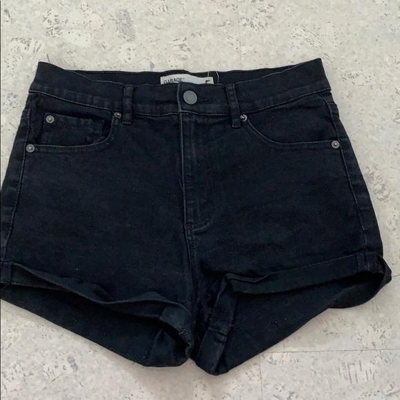 Black garage denim shorts